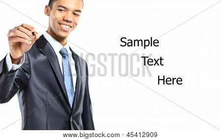 Happy businessman choosing one of three options