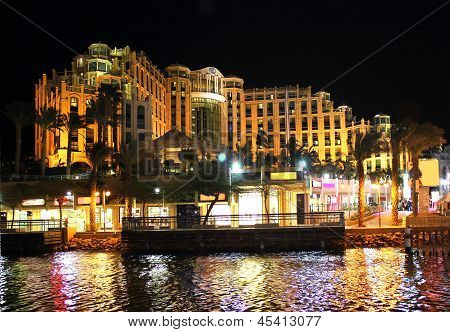 Hilton Eilat Queen Of Sheba Hotel At Night