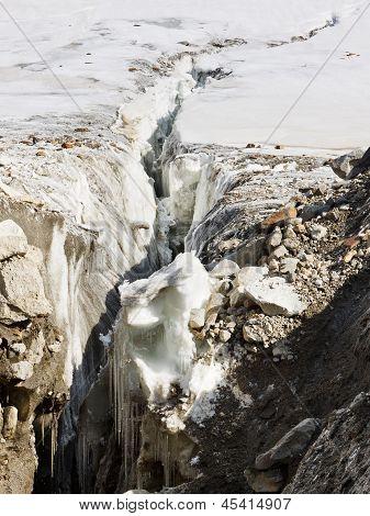Crevasse no glaciar Vigne
