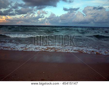 South Beach Surf At Dusk