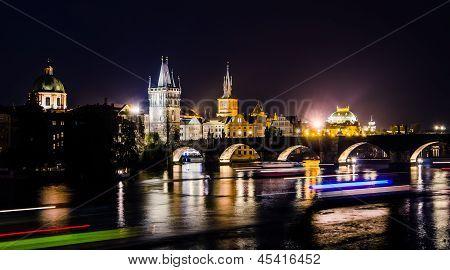 View Over The Vltava River And Bridges In Prague