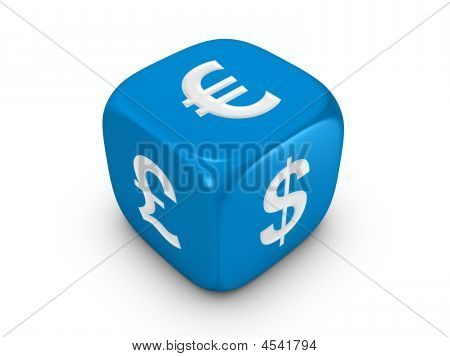 Blue Dice With Curreny Sign