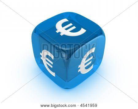 transluzent blau Würfel mit Euro-Zeichen