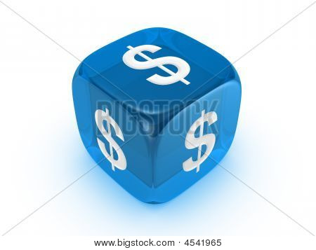 Translucent Blue Dice With Dollar Sign