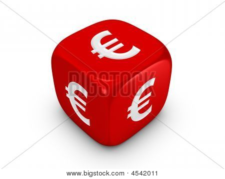 Red Dice With Euro Sign