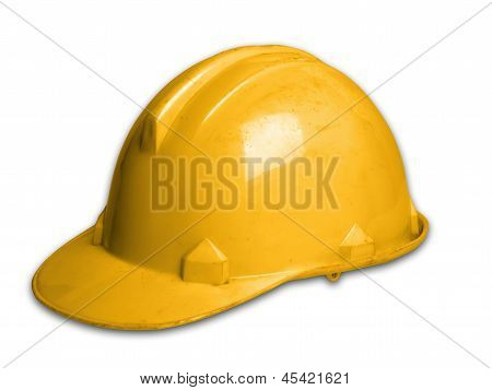 Helmet Plastic Safety Hat On Whit Background