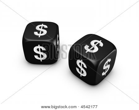 Pair Of Black Dice With Dollar Sign