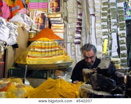 Spice Seller In Bazaar