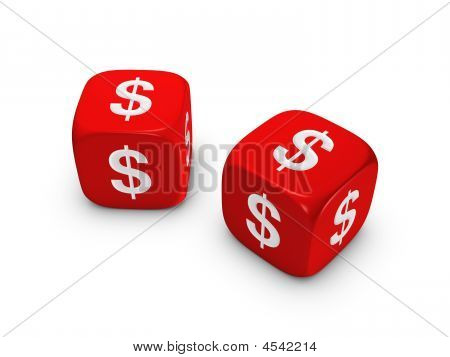 Pair Of Red Dice With Dollar Sign
