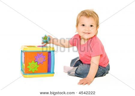 Happy Baby Playing With Activity Cube