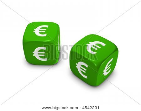 Pair Of Green Dice With Euro Sign