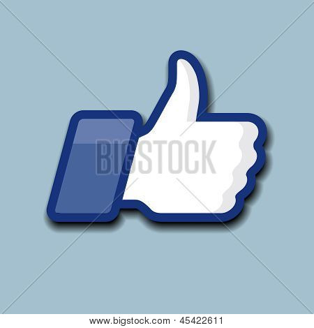 Like/Thumbs Up symbol icon on a grey background