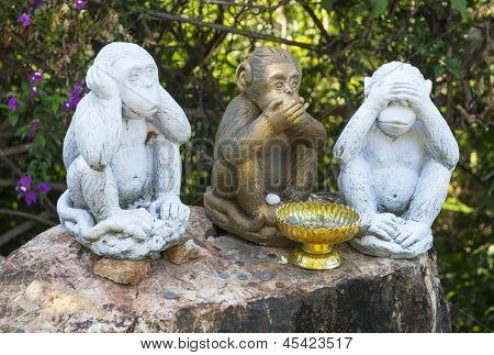 Three Monkeys With Different Faces - No Speak, No See, No Hear at Koh Samui Thailand