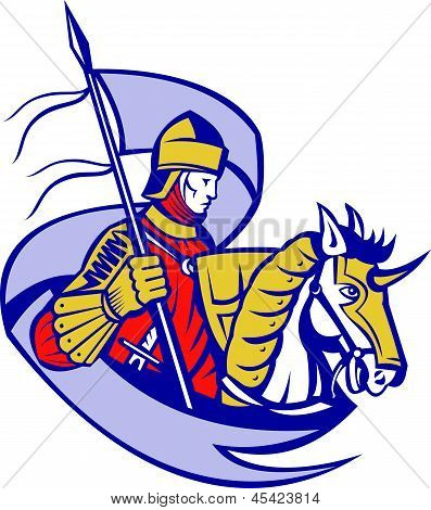Knight With Flag Shield Horse Retro
