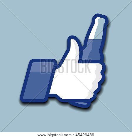 Like/Thumbs hasta el icono de símbolo con botella de cerveza