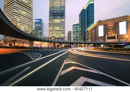 Shanghai Lujiazui Highway At Night