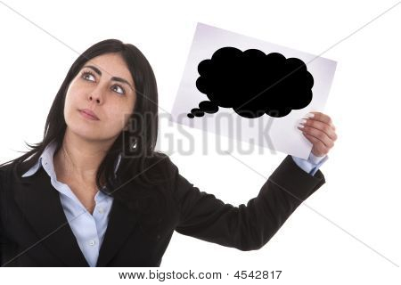 Businesswoman Holding Speech Balloon