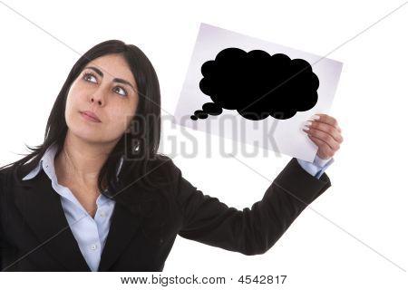 Businesswoman Holding Speech Balloon
