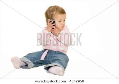 Lovely Baby With Cellphone