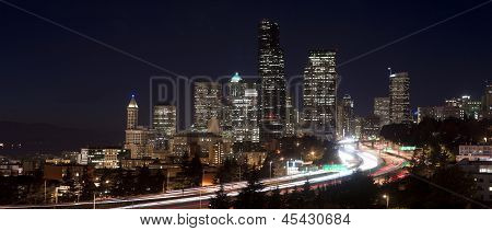 Buildings City Downtown Seattle Washington Interstate 5 Night Horizontal