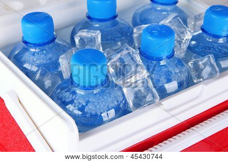 Bottles of water and ice cubes in traveling refrigerator, close up