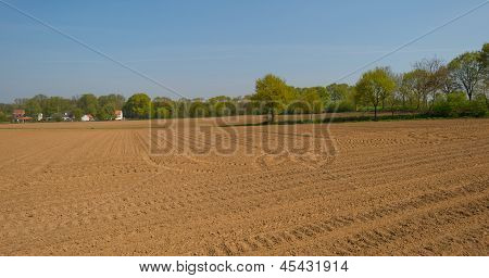 Furrows in a hilly field in spring