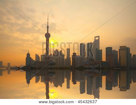 Shanghai Bund Landmark Urban Landscape At Sunrise Skyline