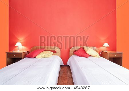 Decorative Bedroom With Shades. Red Color.
