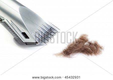 The Hair Clipper On A White Background. Close-up.