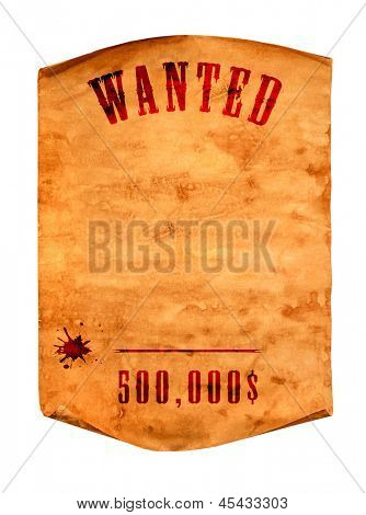 Vintage wanted poster with curled edge on a white background