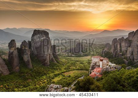 Meteora Roussanou Monastery At Sunset, Greece