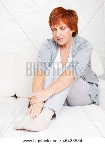 Sad adult woman at home. Grief female. Depression, stress