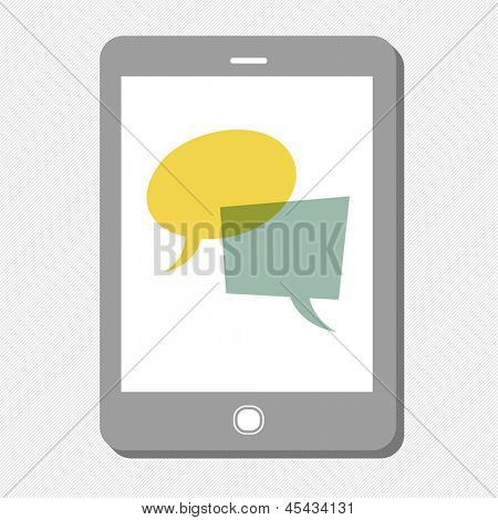 Tablet device with speech bubbles. Vector