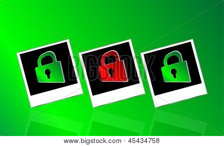 Set Of Instant Photos And Red Padlock On Abstract White Background