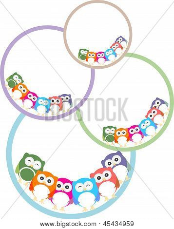 Set Of Colorful Owls With Different Expressions, art illustration