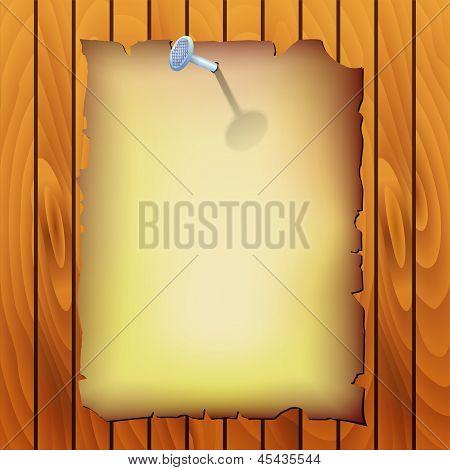 Vector Pergamen On Wood Texture