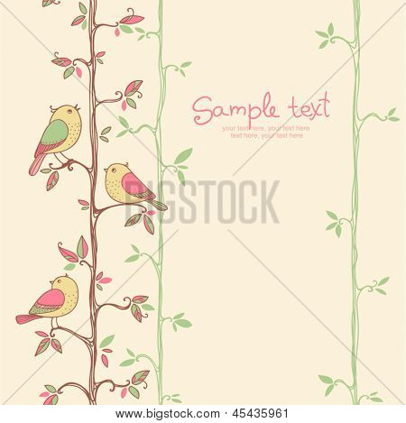 card with seamless floral pattern