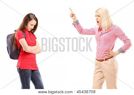 Angry mother shouting at her daughter isolated on white background