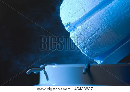 Opened Container With Liquid Nitrogen, Close Up