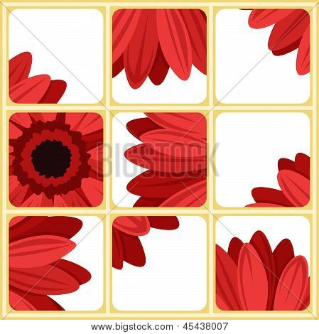 Mosaic with red gerbera. Vector illustration.