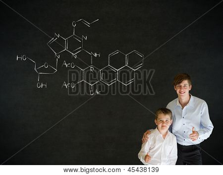 Thumbs Up Boy Business Man And Teacher With Science Chemistry Formula