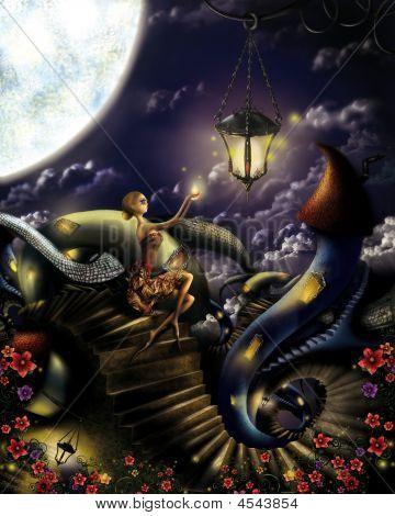 Evening Lights In Fantasy World