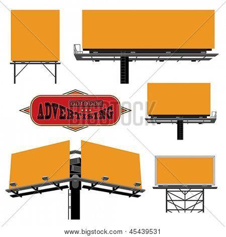 Outdoor advertising constructions. Vector format EPS 8, CMYK.