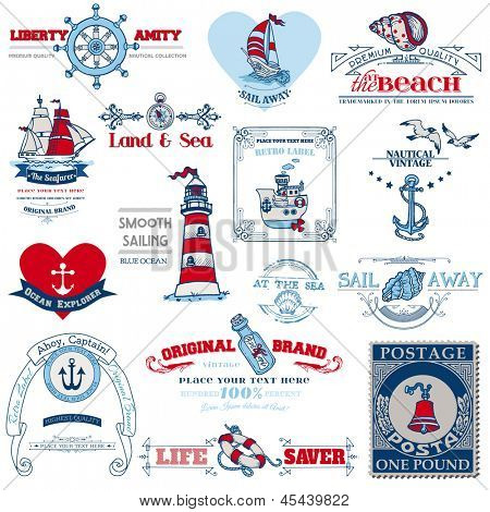 Nautical Sea Calligraphic Elements - for scrapbook and design in vector