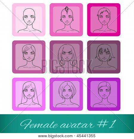 Conjunto de nove Avatares femininos, pode ser usado no site ou fórum. Ilustração vetorial