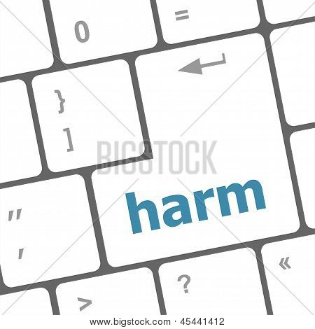 Harm Word On Computer Pc Keyboard Key