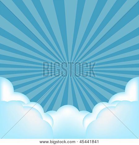Burst Background With Clouds With Gradient Mesh, Vector Illustration