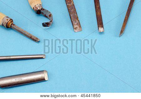 Chisel Graver Carve Tools Set On Blue