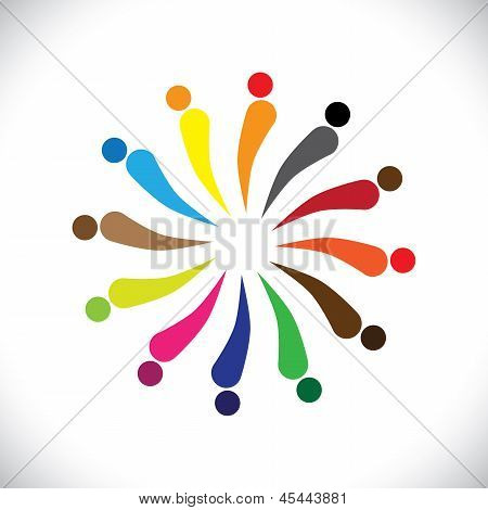 Abstract Colorful Happy People In Circle- Vector Graphic