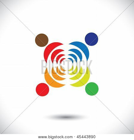 Abstract Colorful People Symbols Showing Close Relationship